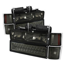 94-98 Chevy Pickup Truck Tahoe Suburban Smoke LED Headlights Bumper Corner Set