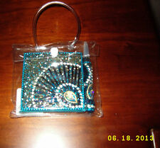 Pier 1 Turquoise satin back Glam Note Pad jeweled Pen purse