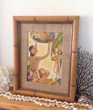 Vintage Original Mackintosh Hula Girl Hawaiian Airbrush Print 13x16 Bamboo Frame