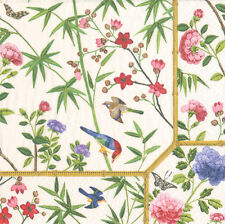 Ivory Chinese wallpaper Floral Caspari luxury paper table napkins 20 pack 33cm