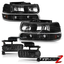 00-06 Chevy Surburban 1500 2500 Tahoe Black Headlights Bumper Set+Fog Lights Kit