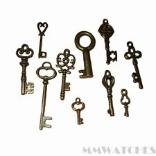 10 MIXED STEAMPUNK  8 BRONZE & 2 GOLD ALICE KEY CHARM PENDANTS SIZE VARIOUS TS42