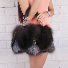 NEW 100% Real Genuine Soft Warm Plush FOX Fur Shoulder Bag Handbag #HL02