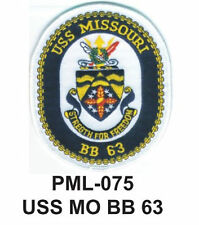 """USS MO BB 63  Embroidered Military Large Patch, 4"""""""