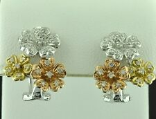STYLISH 3 TONE GOLD  0.42 CT DIAMOND EARRING 18K   flower style OMEGA BACK