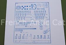 Ancien tampon scolaire métal mathématique calcul chiffre 19 compter 19*14 AA070