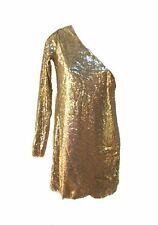 Phard Altaires Gold Sequin One Shoulder Long Sleeve Dress S UK 10 BNWT £57.50