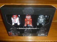 "2016 SDCC Star Wars Black Series Astromech Droid 3 Pack 6"" R2-A3 R5-K6 R2-F2"