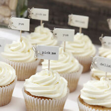 VINTAGE STYLE CUPCAKE STICKS / FOOD FLAGS, RUSTIC WEDDING CUPCAKE DECORATION