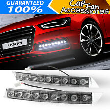 Pair WHITE AUDI STYLE 9 LED DRL Daytime Running Driving Light Fog Light Kit 12V