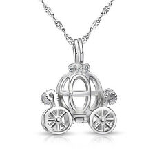 "Cinderella Openable Pumpkin Car Pendant Necklace Chain 18"" 925 Sterling Silver"