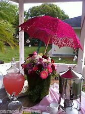 Fuchsia  Pink Battenburg Lace Parasol, Victorian Sun Umbrella, New! Chic Elegant