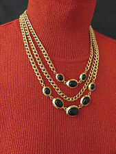 Monet Vintage Necklace Black Lucite 3 Strand 19 inch Gold Chain Chunky 139g