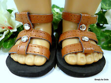 "BROWN w/ Silver Studs DOLL SANDALS SHOES fits 18"" AMERICAN GIRL Doll Clothes"