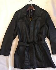 $33K Auth *ZILLI* Black Ostrich Leather Jacket Coat EXOTIC Rare Silk 52L PARIS