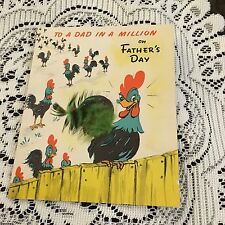 Vintage Greeting Card Father's Day Rooster Family Near Fence