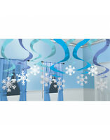 30ft White Blue & Silver Snowflake Hanging Foil Swirl Christmas Party Decoration