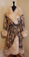 Tapestry Gen. Shearling Trim True Vtg Princess Coat Jacket Boho Brocade Trench