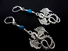 A PAIR OF TIBETAN SILVER DRAGON & TURQUOISE BEAD  LEVERBACK HOOK EARRINGS. NEW.