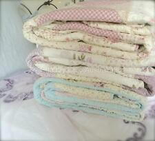 Queen Bed Country Lavender Shabby Rag & Roses Chic Patchwork Quilt Bedspread Set