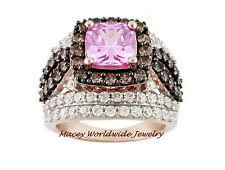 18K ROSE GOLD BRANDY DIAMONDORABLES CHOCOLATE BROWN PRETTY PINK PASSION RING 9CT