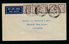 MALAYA 1936 IMPERIAL AIR MAIL HANDSTAMP 5 x 5c to PHOENIX IRONWORKS LEICESTER GB