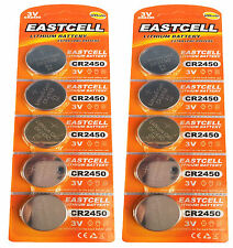 10 x CR2450 3V Lithium Batterie 600 mAh ( 2 Blistercard a 5 Batterien  EASTCELL