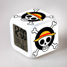 Japan Anime One Piece 7 Color Change Glowing Digital Alarm Clock 18375