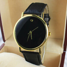 Simple Leather Band Black Wrist Watch Bracelet Men Women Lover Watch Gift