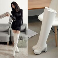 Sexy womens chunky high heels platform boots over the knee thigh high boots shoe