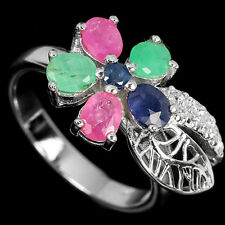 Natural EMERALD, RUBY, SAPPHIRE & CZ 925 STERLING SILVER RING S6.5