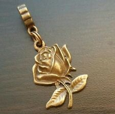 Rose Flower Bud Bronze Tone Dangle Bead for European Style Charm Bracelet