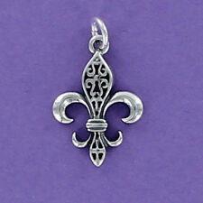 Fleur de Lis Filigree Charm Sterling Silver 925 for Bracelet New Orleans Saints