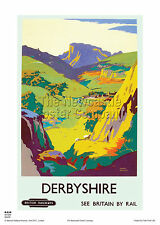 DERBYSHIRE DOVEDALE VINTAGE RETRO RAILWAY TRAVEL HOLIDAY TRAIN POSTER ART PRINT
