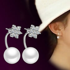 Womens 925 Sterling Silver Pearl Crystal Snowflake Christmas Ear Stud Earrings