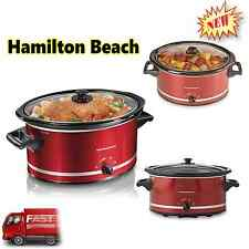 New Hamilton Beach Slow Cooker Large 8 Quart Red Oval Crockpot Kitchen Cooking
