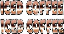 """Iced Coffee Decal (2) 18"""" Concession Food Truck Restaurant Vinyl Letters"""