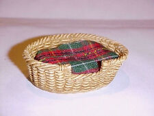 Dollhouse Miniature Oval Faux Wicker Dog Cat Pet Sleeping Basket - Small