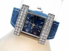 Joan Rivers Square Watch Blue Denim Band Clear Rhinestones New Battery Works