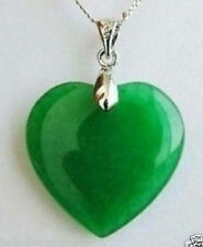 *UK SELLER*!! 925 Silver Necklace Pendant with Green Jade Heart