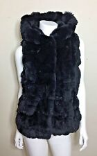 Yves Salomon Navy Fur Vest with Hood Size 34