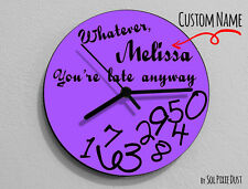 Custom Name Whatever, I'm late anyways Purple - Wall Clock