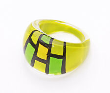 LIME YELLOW GREEN CUBIST SQUARES PLASTIC BUBBLE RING FOR ARTY STYLING (ZX39)