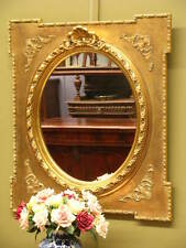 ORNATE FRENCH GILT FRAMED OVAL WALL OR MANTLE MIRROR ~ SUIT ANTIQUE STYLE