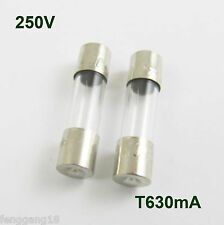 10 Pcs Glass Tube Fuse 5 x 20mm T630mA 630mA 0.63Amps T0.63A 250V Slow Blow
