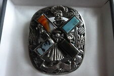 VINTAGE SCOTTISH CELTIC MIRACLE ST ANDREWS CROSS INLAID AGATE THISTLE BROOCH