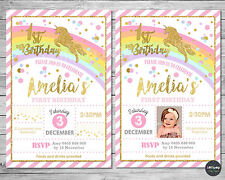 UNICORN INVITATION INVITE 1ST FIRST BIRTHDAY CARD PINK GOLD RAINBOW PARTY SUPPLI