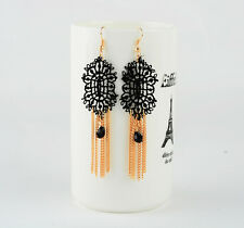 NEW Handmade Black Lace Chandelier Earrings Vintage Gothic Victorian Style E2