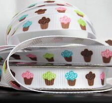 "Lot 5-YDS Cute Cupcake 3/8""w Grosgrain Ribbon Pink,Blue,Brown,Green"