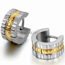 Stainless Steel Hinged Hoop Huggies Ear Plug Stud Earrings Men's Women's Fashion